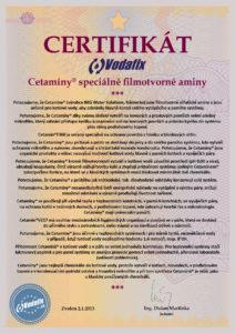 Certifikát Cetamin